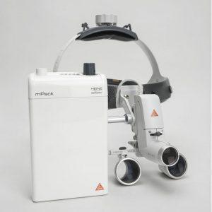 Heine ML4 LED HR 2.5x - налобный светодиодный осветитель ML4 LED в комплекте с бинокулярными лупами HR 2.5x и защитным щитком S-Guard | Heine (Германия)